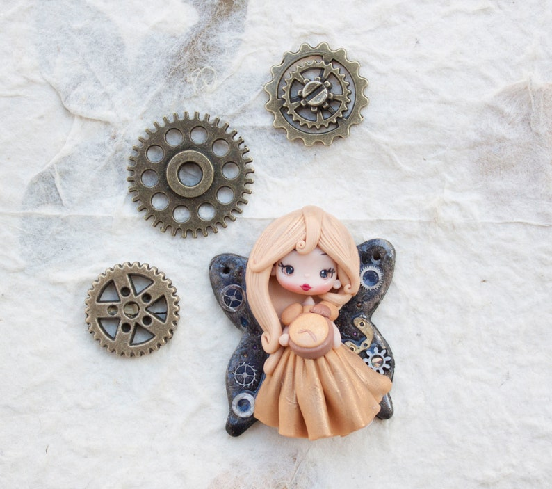 ready for shipping  polymerclay steampunk doll  image 0