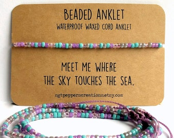 Bead Anklet, Waterproof Ankle Bracelet, LAVENDER Pink Turquoise Grey Seed Beads, Adjustable Macrame Knot, Polyester Cord,Sky Touches the Sea
