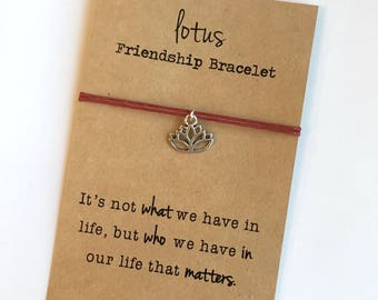 LOTUS Friendship Bracelet ~ Silver Charm ~ Waxed Cotton Cord ~ It's not what we have in life ... ~ Adjustable, choose your color