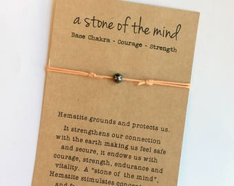 HEMATITE Cord Bracelet ~ A stone of the mind ~ Waxed Cotton Cord ~ 6mm Hematite Gemstone bead ~ Base Chakra, Courage, Strength - adjustable
