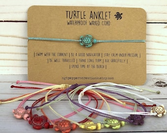 Turtle Anklet, Howlite Turtle bead, Colored Howlite stone bead, Ankle Bracelet, Waterproof Polyester Cord, Adjustable, Beach Surfer Anklet