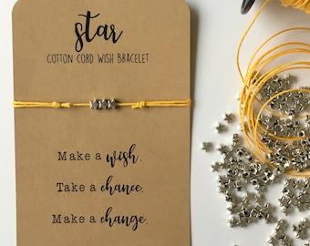 Star Wish Friendship Bracelet,  Cotton Cord , Silver Beads, Make a wish, take a chance, make a change, adjustable, 18 colors