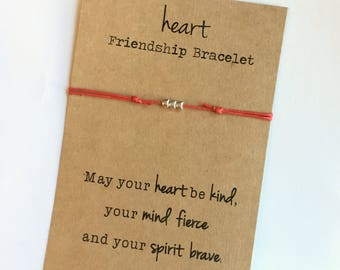 HEART Friendship Bracelet ~ Silver Beads ~ Waxed Cotton Cord ~ May your heart be kind, your mind fierce and your spirit brave ~ adjustable