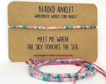 Bead Anklet, Waterproof Ankle Bracelet, PINK Rose Gray Turquoise Seed Beads, Adjustable Macrame Knot, Polyester Cord,Sky Touches the Sea