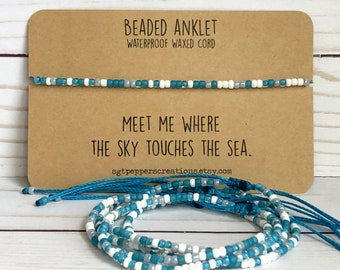 Bead Anklet, Waterproof Ankle Bracelet, TURQUOISE White Grey Seed Beads, Adjustable Macramé Knot, Polyester Cord, Sky Touches the Sea