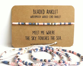 Bead Anklet, Waterproof Ankle Bracelet, WHITE Pink Blue Nickel Seed Beads, Adjustable Macrame Knot,Polyester Cord, Sky Touches the Sea