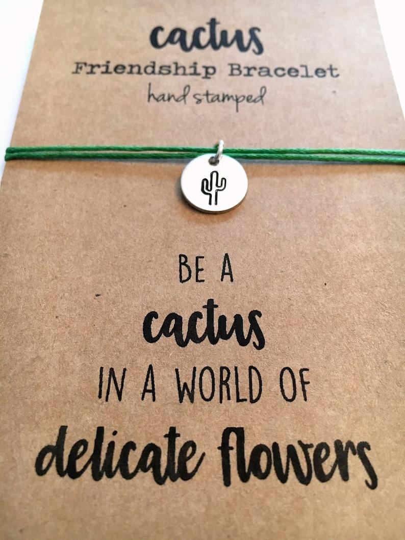 Be a Cactus adjustable 18 colors Delicate Flowers Cotton Cord Hand Stamped silver aluminum disc Cactus Friendship Bracelet