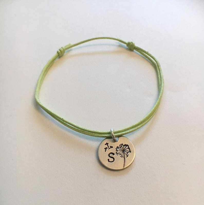 Dandelion Wish Friendship Bracelet 18 colors My wish for you Personalized Initial Hand Stamped silver disc adjustable Cotton Cord