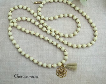 Wooden beads chain flower of life White Gold Yoga Buddha