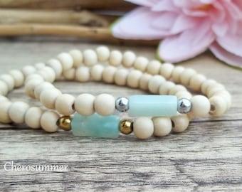 Wooden bead edyou with Amazonite