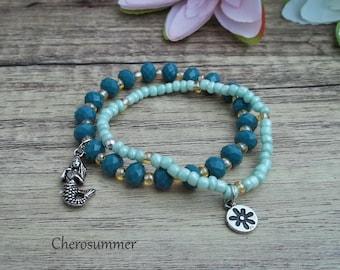 Set of 2 Bracelets Mermaid Turquoise Mint