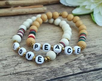 Customizable Letter Bracelet Name Wood Katsuki White