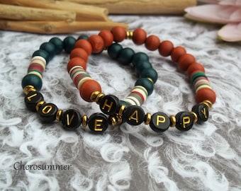 Customizable Letter Bracelet Name Wood Katsuki Black