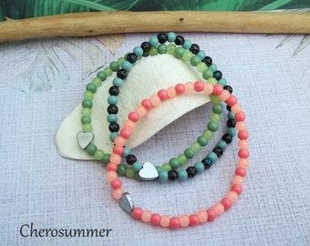 Delicate colorful bracelet hematite heart glass beads