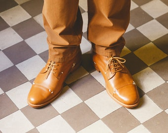 Men's Brown leather shoes/ Brown ankle boots/ Men's weddig shoes/ brown shoes/ Brown Oxford shoes/ Handmade men shoes/ Handmade men boots
