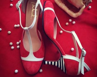 Red handmade mid heel shoes/ Tbar strap shoes/ Women's shoes/ Wedding shoes/ Gift for her/ Dancing shoes/ Red sandals/ summer shoes