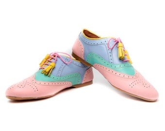 Handmade leather Oxford shoes for women, Blue bridal flats, Cute ballet flats,Pink shoes, Mint shoes, Blue wedding shoes