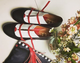 Handmade leather Oxford shoes for women, Women's monk shoes, Black and white everyday ballet flats for women