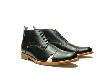 39f6bfe7 Black Men's leather shoes/ Black Oxford shoes/ Men's black ankle boots/  Handmade men shoes/ Designer men shoes/ Handmade men boots