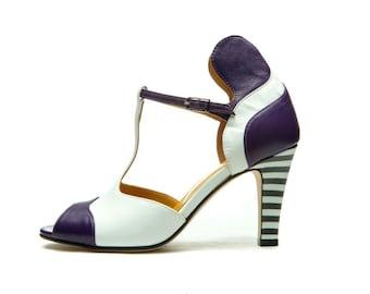 a9e7c1c823e Purple peep toe sandals  High heel sandals  Wedding shoes  T-strap sandals   Women s shoes  Leather sandals  Handmade sandals  FREE SHIPPING