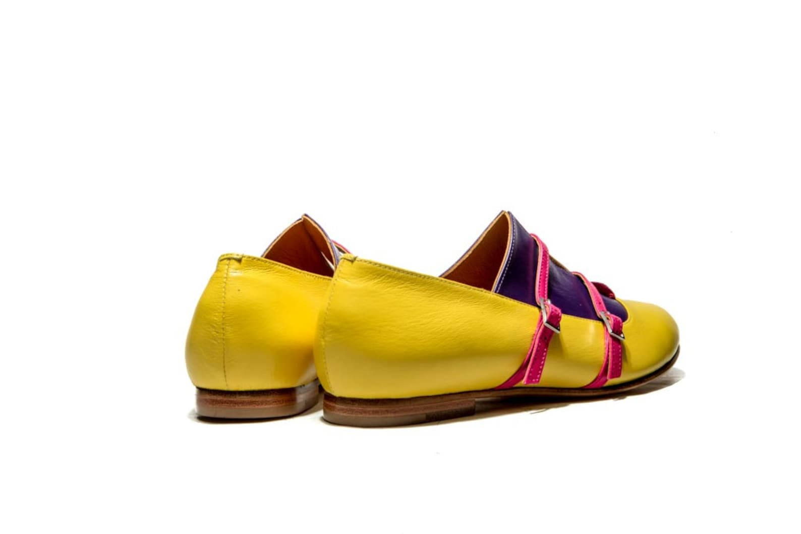 handmade ballet flats/ women's oxford shoes/ women's monk shoes/ leather flats/ everyday shoes/ buckle up shoes/ yellow