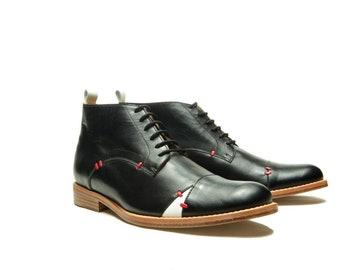 Black Men's leather shoes/ Black Oxford shoes/ Men's black ankle boots/ Handmade men shoes/ Designer men shoes/ Handmade men boots