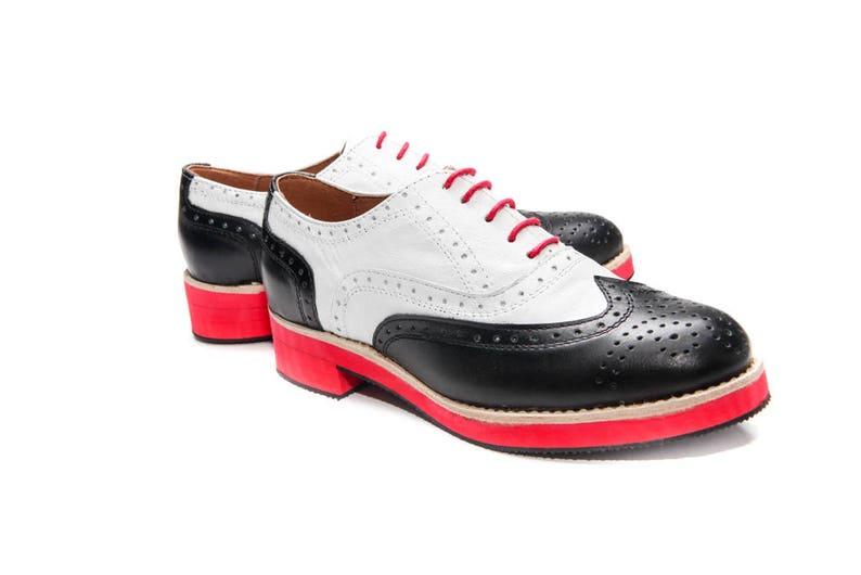 Handmade Oxford shoes Womens Brogues Black/&White Oxfords Flat shoes Comfortable shoes Vintage shoes unique shoes Red sole shoes