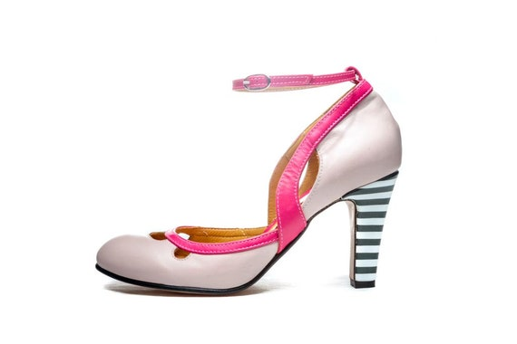 D'orsay Rose Jane Cuir Fait Chaussures Mary En OqH0zF