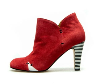 Red Women's boots/ High heel ankle boots/ Red suede boots/ Handmade red leather booties/ FREE SHIPPING/ Wedding booties/ Party shoe