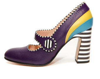 Mary Jane shoes for women, Purple High heel pumps, Colorful and unique shoes, Block heels