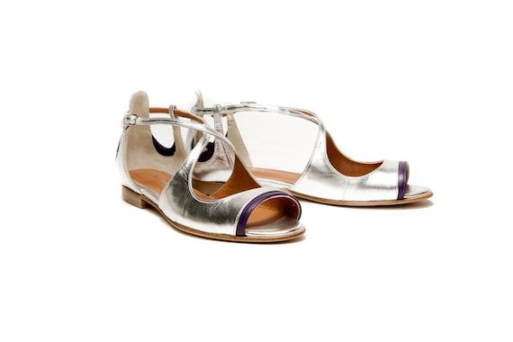 silver flat open toe shoes