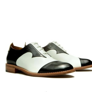 60s Shoes, Boots Womens Handmade black and white Oxford shoes/ Womens Brogues/ Flat shoes/ Comfortable shoes/ Vintage shoes/ unique shoes $288.00 AT vintagedancer.com