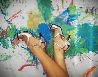 Sliver high heel sandals, Strappy high heel shoes, Sandals, Ankle strap sandals for women, Sexy shoes, Sliver heels for wedding