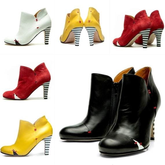 Women's High Heel Ankle boots/ Handmade