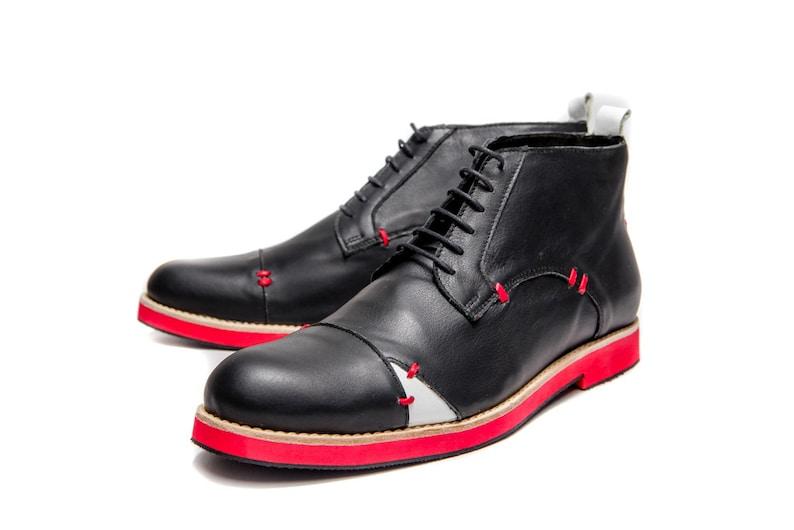 Black Men s handmade leather shoes  Black men s Ankle boots  588895c70229