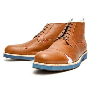 Brown men's genuine leather handmade shoes, Men's boots and ankle boots, Brown Oxford shoes for men, Casual shoes for men