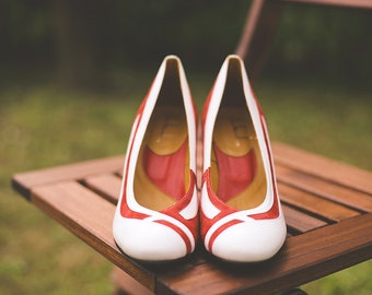 White and red wedding shoes/ Handmade leather bridal shoes/ Red bridal shoes/ Unique wedding shoes/ Red Heels/ White pumps