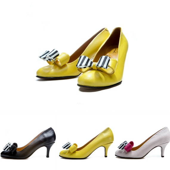 Black bow mid heel shoes/ Yellow shoes
