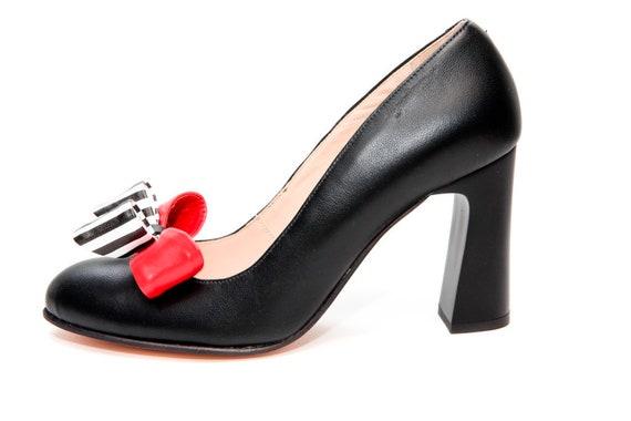 Handmade black leather bow high heel