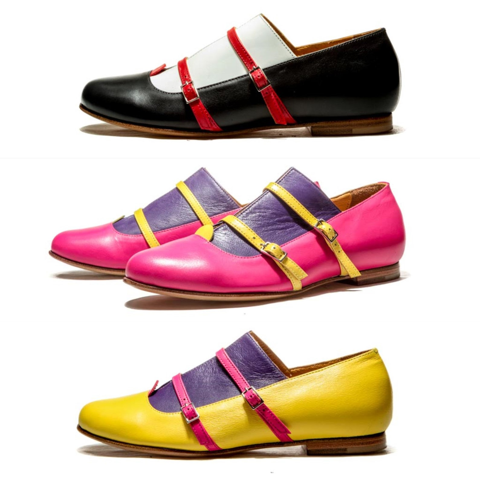 ballet flats/ black leather flats/ oxford shoes/ monks/ women's flats/ flat leather shoes/ buckle up shoes/ black and white/