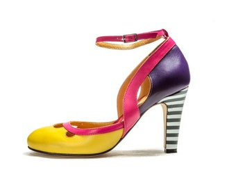 Mary Jane shoes for women on high heels, Unique shoes, Colorful shoes for women, High heel pumps, Bridal shoes, Yellow shoes