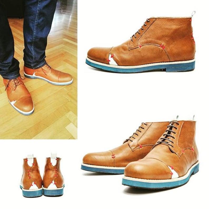 Scarpe fatte a mano da uomo's Brown/Leather allacciamento Hz37IZZz