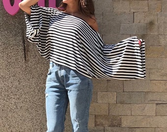 922b48ee007 Plus Size Cropped Top/ Kimono Sleeves/Extravagant Loose Top/Stripe Maxi Top/Stripped  Cropped Blouse