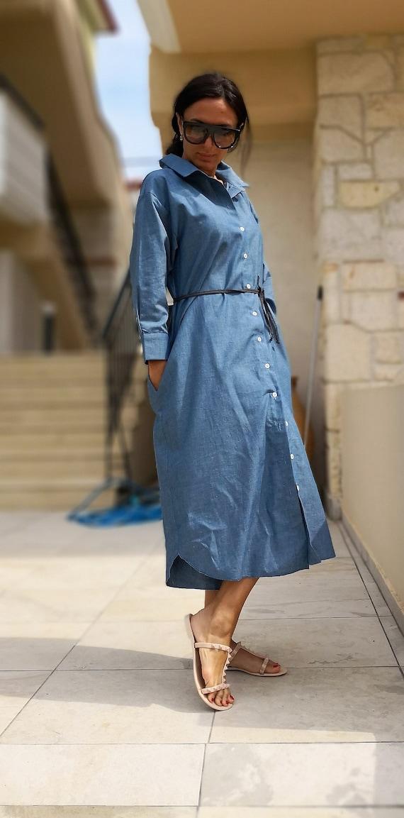 SALE Denim Shirt Dress Maxi Dress with Pockets Loose Dress   Etsy