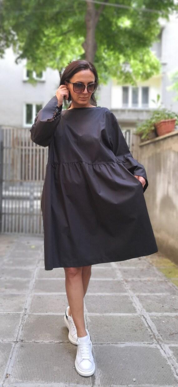 Black Maxi Dress/Oversize Dress/Plus Size Dress/Cotton Dress/Loose  Dress/Casual Dress