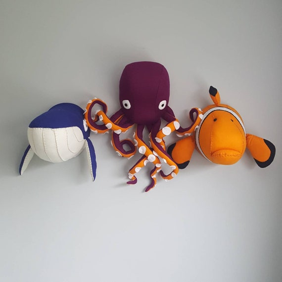 wall decor. Faux Taxidermy Felt Wall Mounted Animal Head OCTOPUS Orlando Octopus Purple and Orange