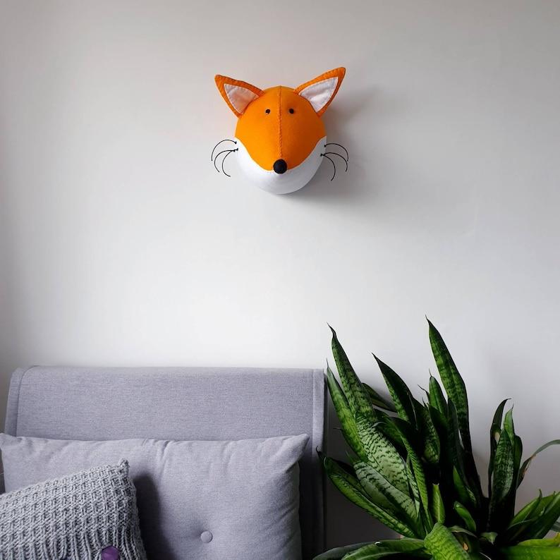 FOX  Faux Taxidermy  Felt Wall Mounted Animal Head  Fred image 0