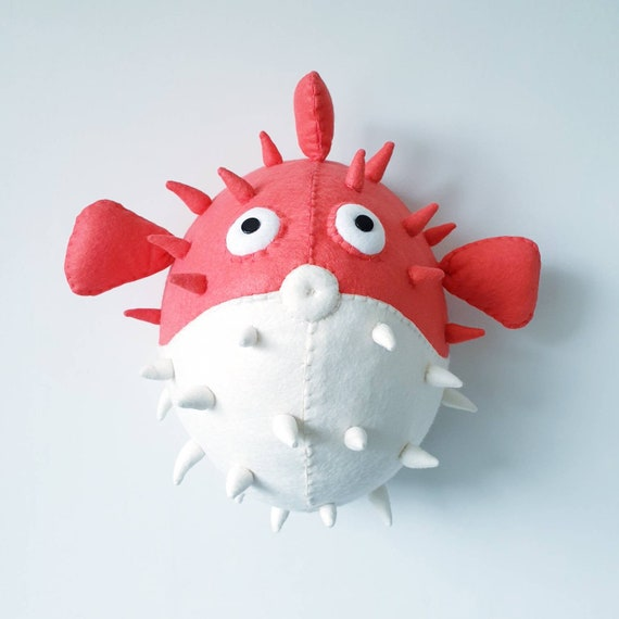 PUFFERFISH Felt Wall Mounted Animal Head Perriwinkle Pufferfish coral sea theme wall decor. Faux Taxidermy fish