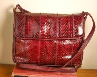 Vintage Ganson Cranberry Red Leather Snakeskin Bag