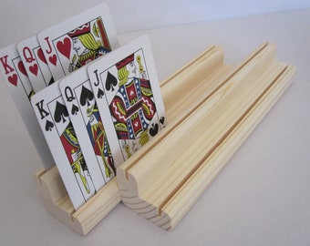 Two Levels Wooden Playing Card Holder Rack Set of Four